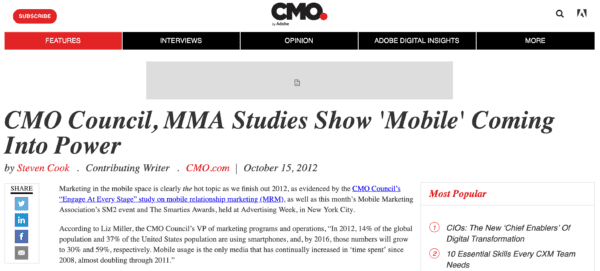 CMO Council, MMA Studies Show 'Mobile' Coming Into Power