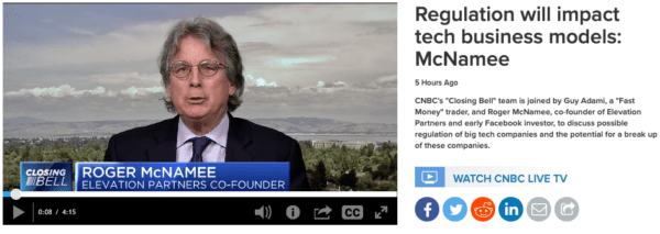 CNBC Interview with Roger McNamee: Consumers are getting a terrible deal in exchange for their personal data